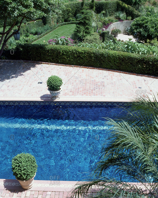 A pool in a meticulously manicured garden