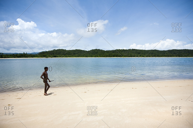 Luzon Island, Philippines - July 29, 2011: Dumagat fisherman on a remote beach