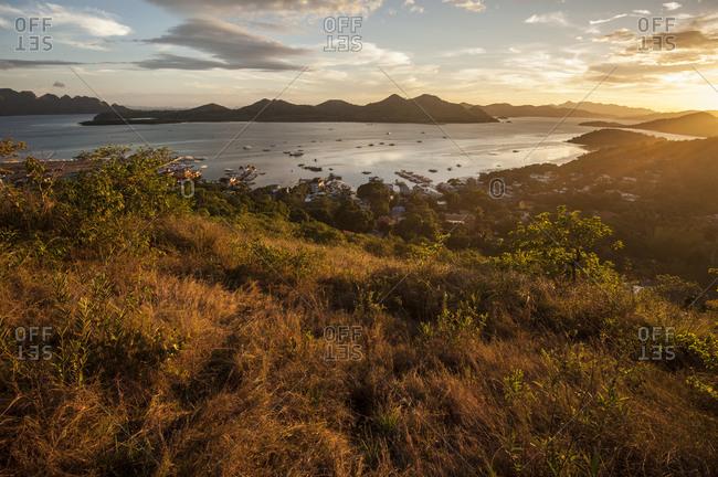 Coron town at sunset in northern Palawan