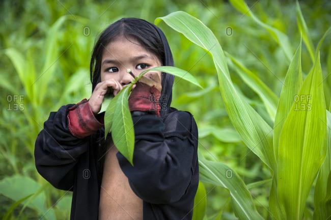 Singnapan, Rizal Province, Southern Palawan, Philippines - April  20, 2012: Tau't Bato child in southern Palawan