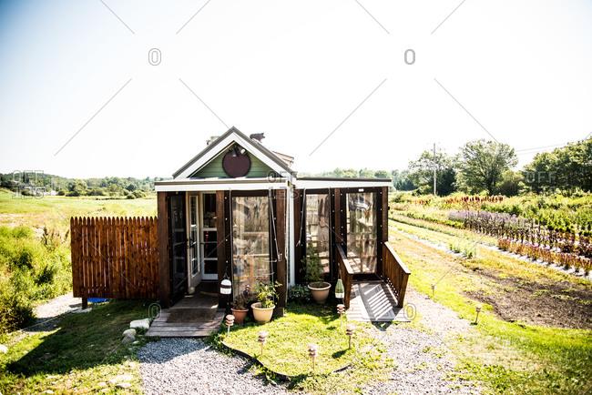 A garden greenhouse on a farm