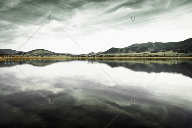 Landscape with mountain range and calm lake