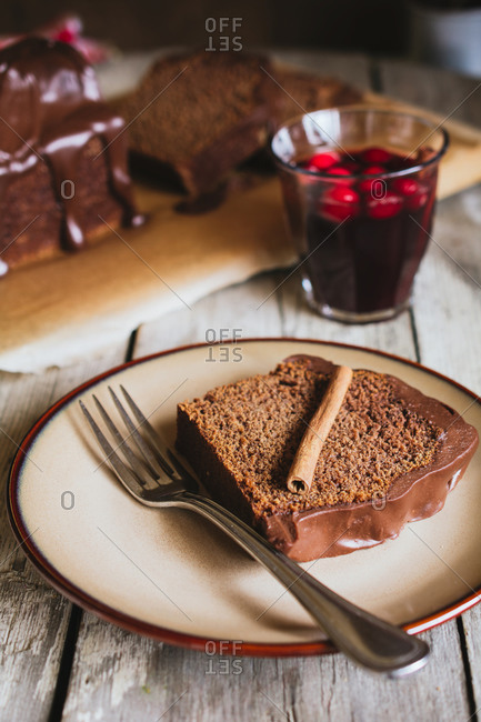 A slice of Polish ginger cake on a plate