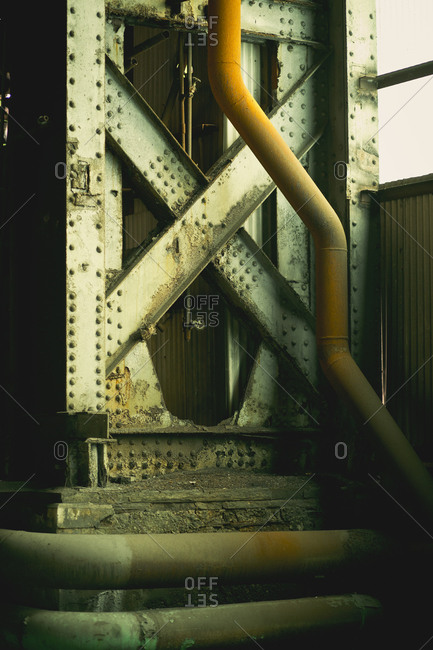 Steel beams in a warehouse in Pittsburgh, Pennsylvania