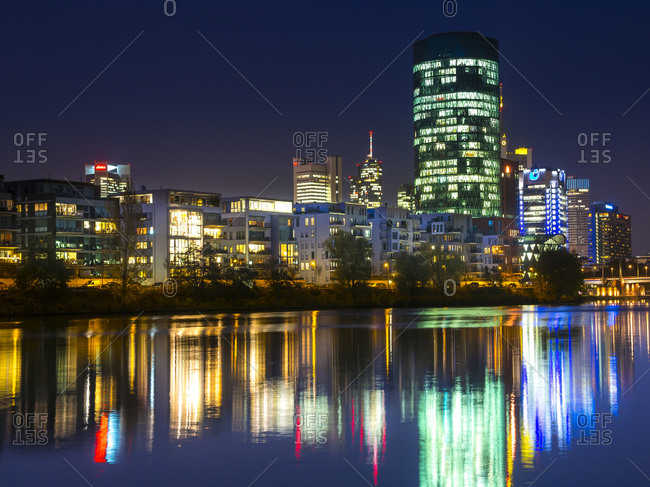 Frankfurt, Germany - November 19, 2014: View from Theodor-Stern-Quay, Westhafen Tower at night, Frankfurt
