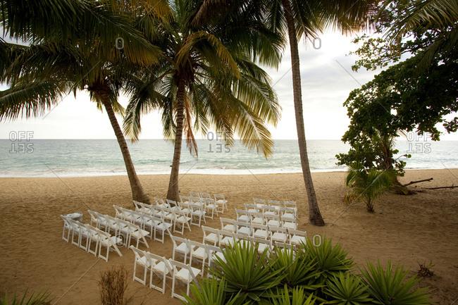 Empty wedding venue on the beach