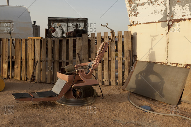Medical chair at a junkyard