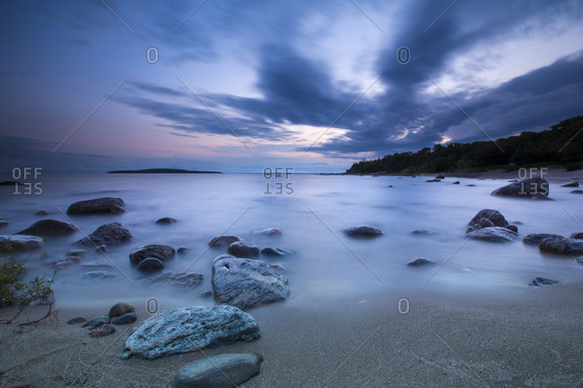 Long-exposure of water reaching the shore