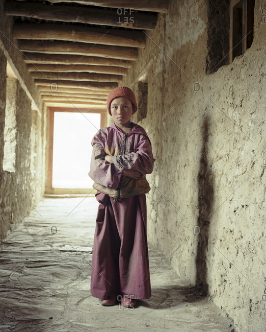 Jammu and Kashmir, India - March 21 1997: Buddhist novice boy