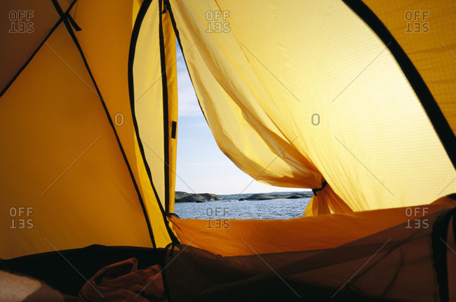 View inside a tent