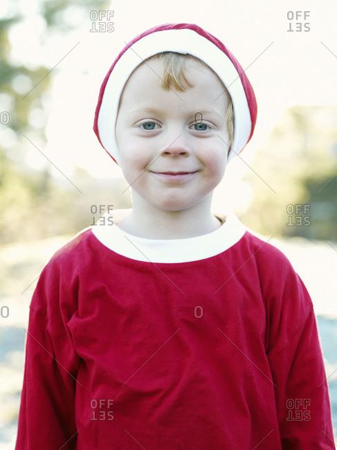 A boy dressed as Santa Claus, Sweden