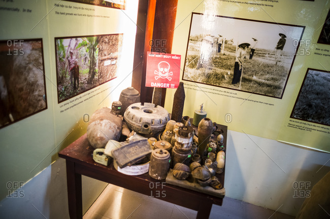 Dong Ha, Vietnam - September 10, 2014: A collection of mines and other military ordinance is displayed at the Quang Tri Mine Action Visitor Center in the town of Dong Ha, in central Vietnam
