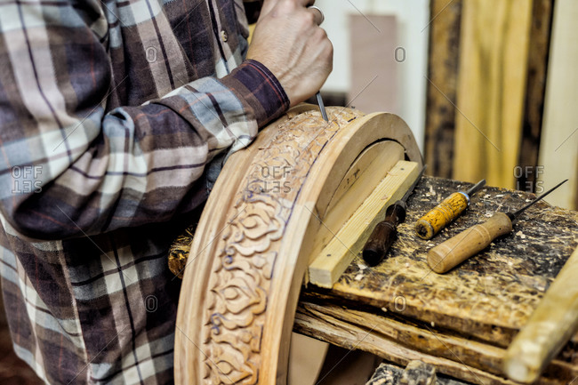 Close up of craftsman working in a workshop
