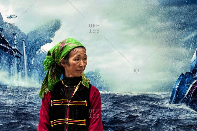 Yunnan, China - August 10, 2013: Portrait of a Hani elderly woman