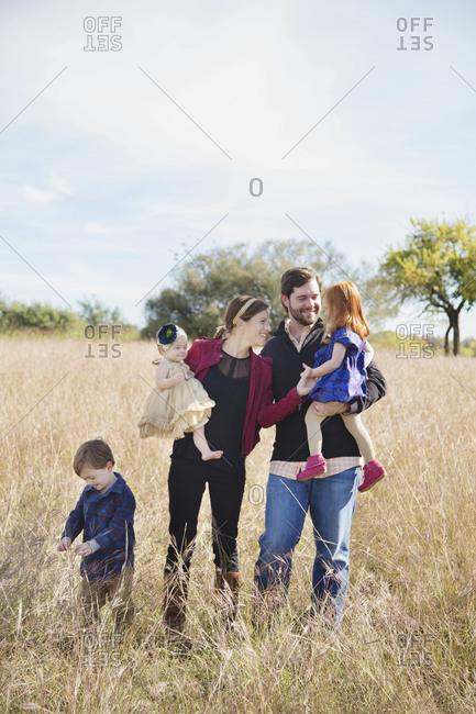 Happy family on field