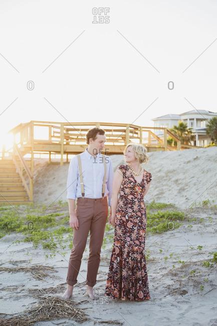 Couple flirting outdoors
