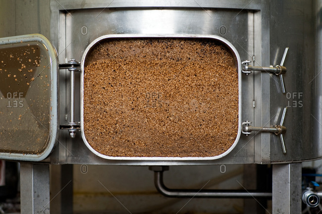 Mash tun in beer brewery