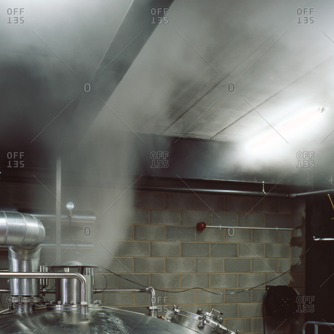 Burnley, Lancashire, UK - November 9, 2010: Steam from brewery vat