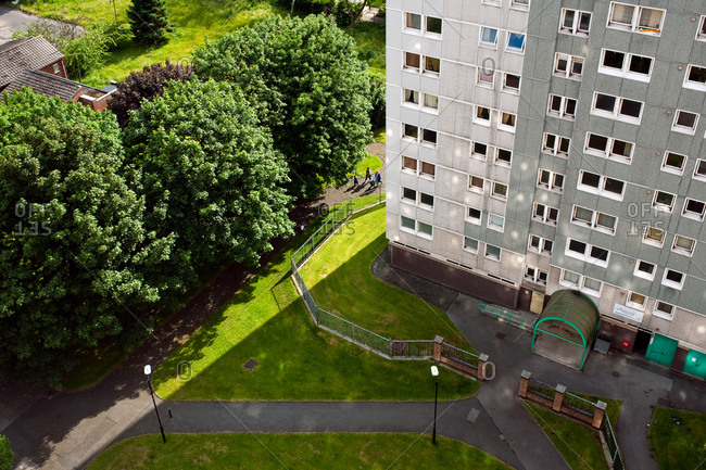 Manchester, UK - June 18, 2012: Courtyard of apartment block in England