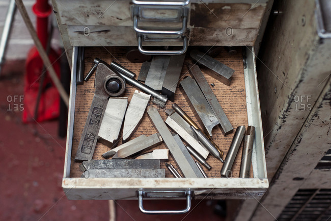 Lathe blades in drawers
