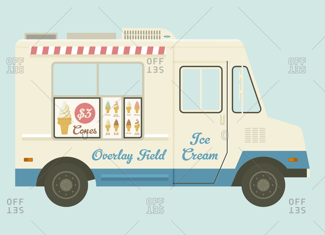 Ice cream truck on a blue background