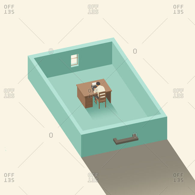 Man working in a drawer