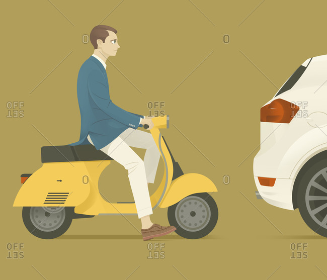 Man sitting on scooter behind a car