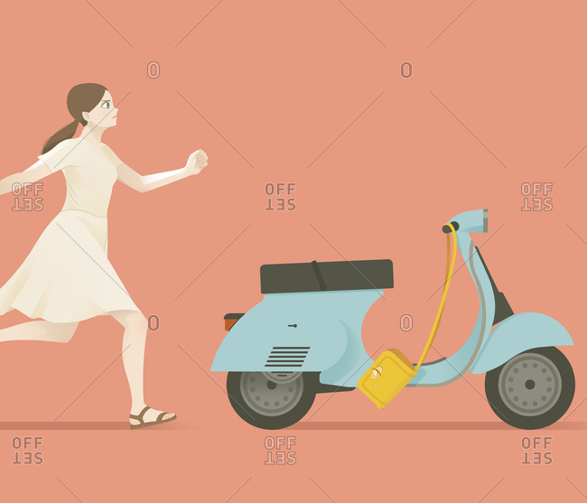 Woman running after scooter
