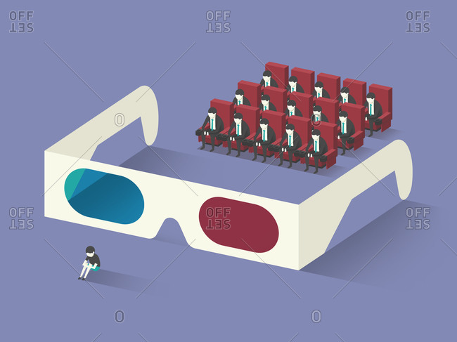 People looking at boy through 3D glasses