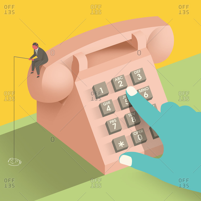 Person dialing number while devil fishing on receiver