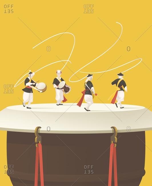 Korean drummers performing on a drum