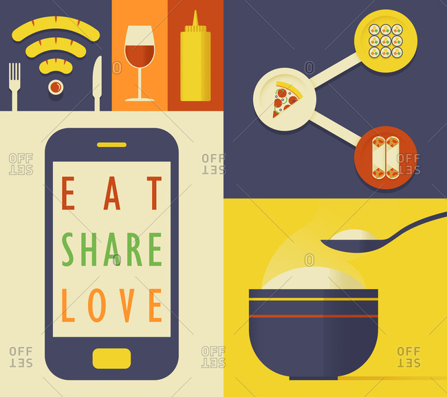 Mobile phone and different foods