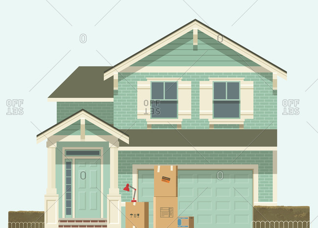 House with boxes in front