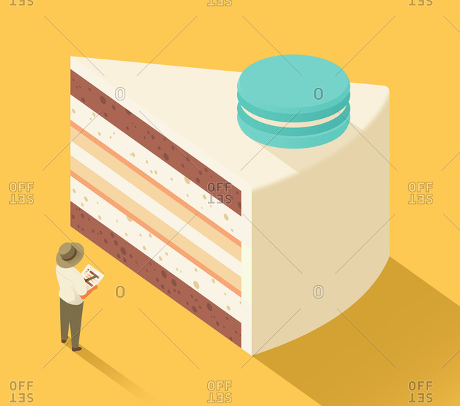 Man standing in front of slice of cake