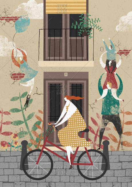Woman riding a bicycle on a street