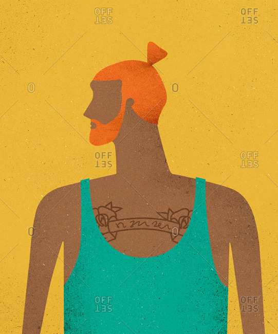 Portrait of a redhead man with a tattoo