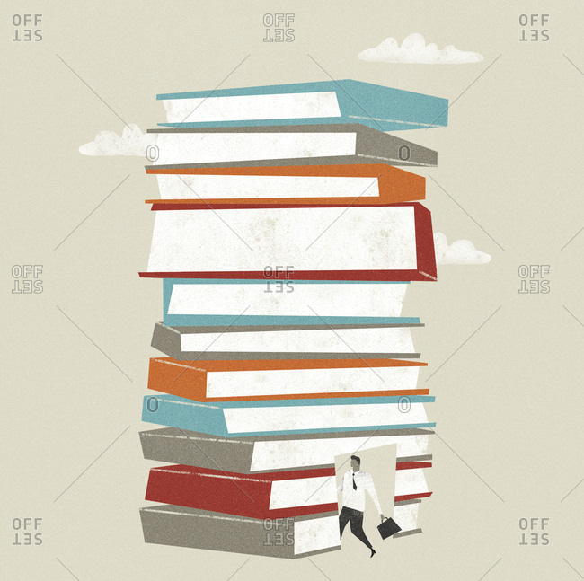 Stack of books with a photo