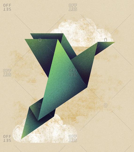 Origami bird flying in the sky