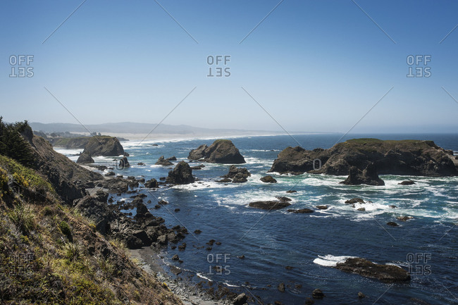 Rocky beach seen from hillside