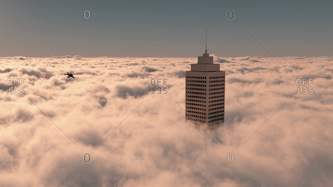 Aerial of skyscraper in the clouds with red airplane flying over