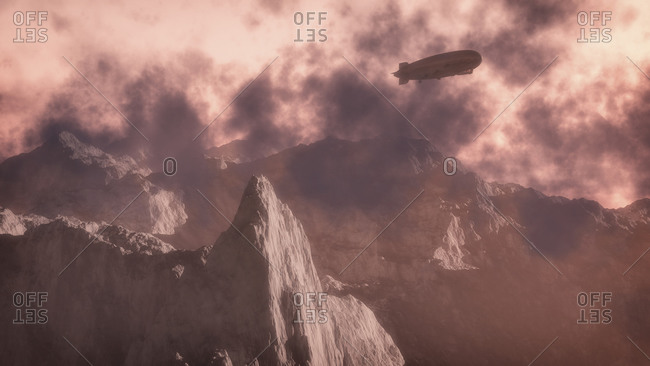 Winter mountain landscape with zeppelin flying over