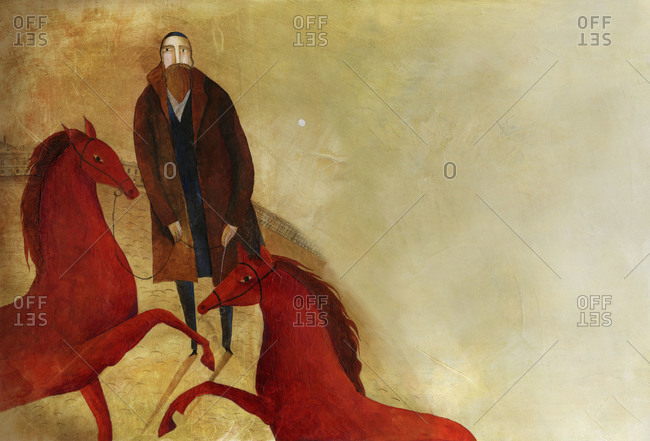 Man with red horses