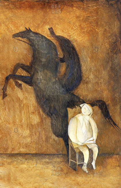 Boy sitting on a throne with a rider shadow behind him