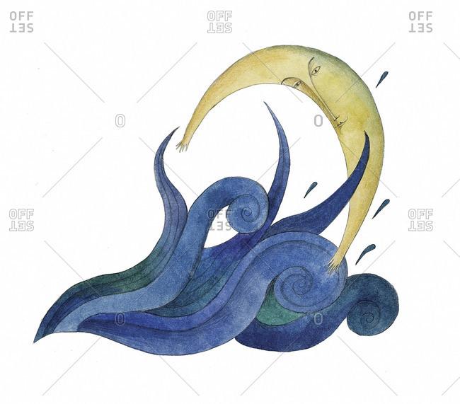 Moon hugs a wave