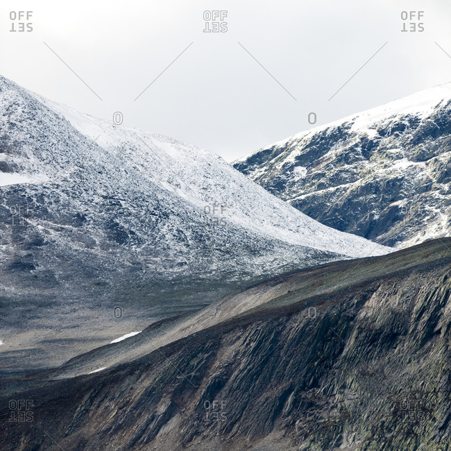 Snowy mountains in rural Norway