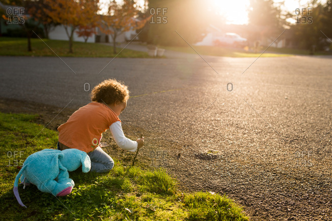 Child digging with stick in front yard