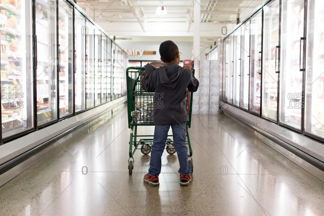 Boy in freezer aisle with cart