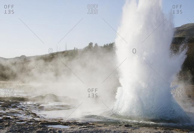 Bursting geyser in Iceland