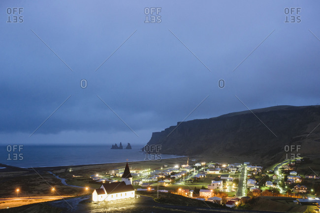 View of a coastal town in Iceland