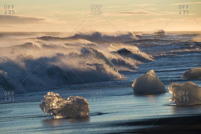 Chunks of glacial ice on an Icelandic coast